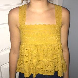 Yellow flowy shirt